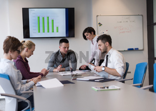 young business people group on team meeting at modern office