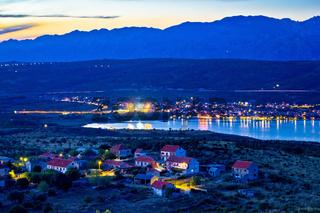 Posedarje bay and Velebit mountain sunset view