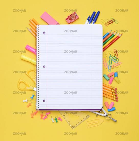 Spiral Notebook on School Supplies