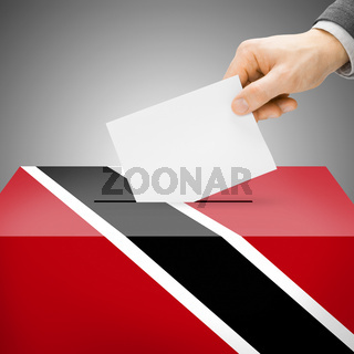 Voting concept - Ballot box painted into national flag colors - Trinidad and Tobago