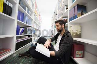 student study  in school library