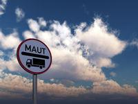 verkehrsschild maut vor wolkenhimmel - 3d illustration