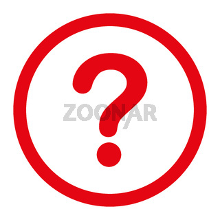 Question flat red color rounded raster icon