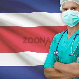 Surgeon with flag on background series - Costa Rica