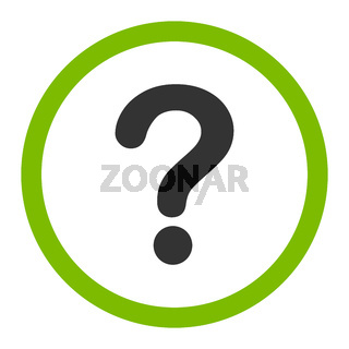 Question flat eco green and gray colors rounded vector icon