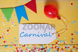 Party Label With Balloon, Text Carnival