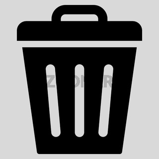 Trash Can flat black color icon