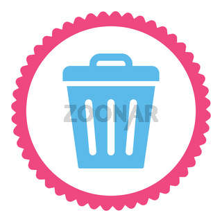 Trash Can flat pink and blue colors round stamp icon
