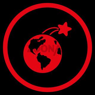 Rising Satellite On Earth Icon