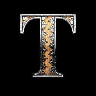 t silver letter. 3D illustration