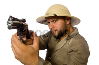 The man with gun isolated on white
