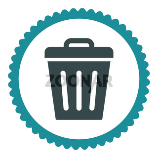 Trash Can flat soft blue colors round stamp icon