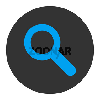 Search flat blue and gray colors round button