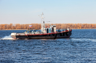 Vessel type 'Yaroslavets' project RVN-376 on the river Volga in clear sunny day