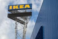 Large IKEA signboard near IKEA store in Utrecht, the Netherlands