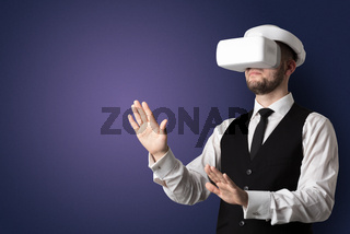 Empty room with a man in vr glasses