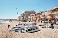 Boats on the beach of La Mata. Spain