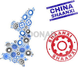 Gear Mosaic Vector Shaanxi Province Map and Grunge Stamps