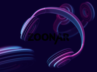 Modern 3D headphone on dark background. Abstract visualization of digital sound.