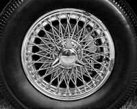 Closeup of vintage car wire wheel