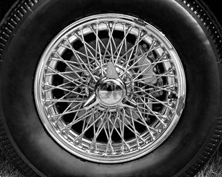 Closeup of vintage car wire wheel