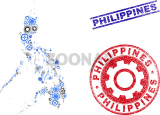 Industrial Mosaic Vector Philippines Map and Grunge Stamps
