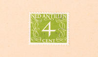 The Netherlands Antilles - Circa 1950: A stamp printed in The Netherlands Antilles shows it's value, circa 1950