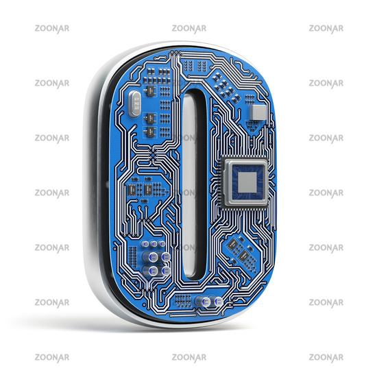 Letter O.  Alphabet in circuit board style. Digital hi-tech letter isolated on white.