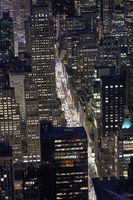 Aerial photo of a New York City street at night