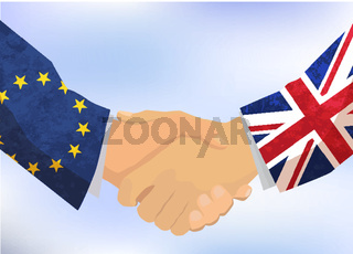 United Kingdom and European Union handshake, concept illustration on blue sky