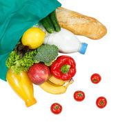 Einkauf Lebensmittel einkaufen Früchte Obst und Gemüse von oben Quadrat freigestellt Freisteller isoliert