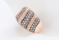 Rose Gold Ring With Diamonds On Soft White Background