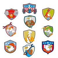 American Eagle Mascot Crest Cartoon Set