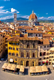 Florence square and cathedral di Santa Maria del Fiore or Duomo view