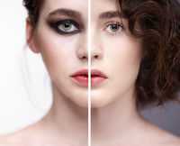 Collage of two photos. Closeup macro portrait of female face with nude makeup and violet - black smoky eyes beauty make-up