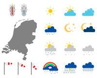 Karte der Niederlande mit Wettersymbolen - Map of the Netherlands with weather symbols