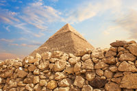 The Pyramid of Khafre in the stones of the Giza desert, Egypt