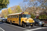 Yellow School Bus in the Streets of Manhattan