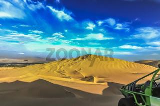 The sand dune desert near the oasis of Huacachina, Peru