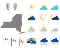 Karte von New York mit Wettersymbolen - Map of New York with weather symbols