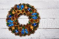Christmas wreath top view