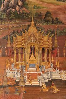 Golden pagoda in Wat Phra Kaew murals