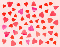 hearts cut from color papers on pink pastel paper