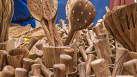 wooden utensils for cooks. spoons, mallets, forks and cutlery handmade in handcrafted wood