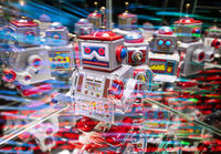 Robots with abstract technology background