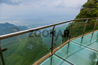 Glass sky pathway in Tianmenshan nature park - China