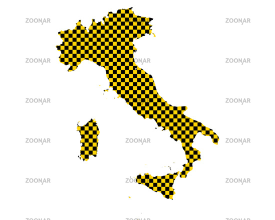 Karte von Italien in Schachbrettmuster - Map of Italy in checkerboard pattern