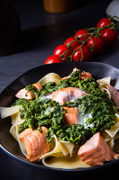 pappardelle pasta with creamed spinach and fried salmon