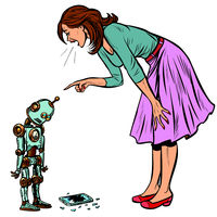 robot broke the phone. Woman scolds guilty