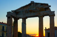 Silhouette of the Gate of Athena in Athens at sunset